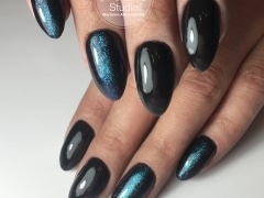 Черное покрытие с синей втиркой